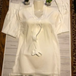 NWT Women Popover Tie Neck Blouse long Sleeve M